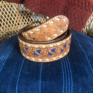 Vintage Textak Hand Tooled/ Dyed Leather Belt